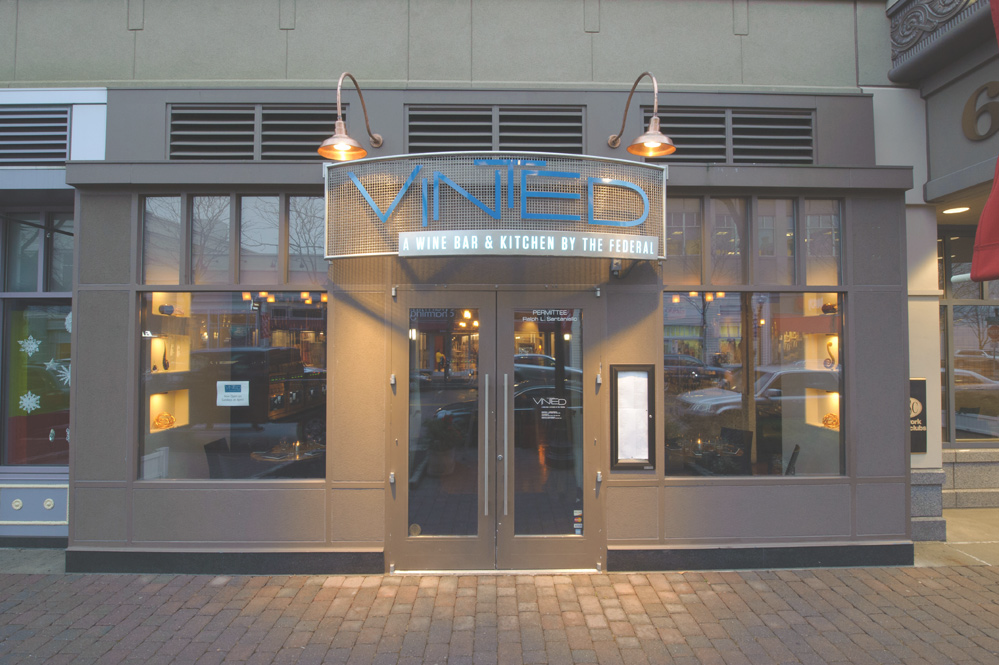 This is a photo of the front entrance to Vinted Wine Bar